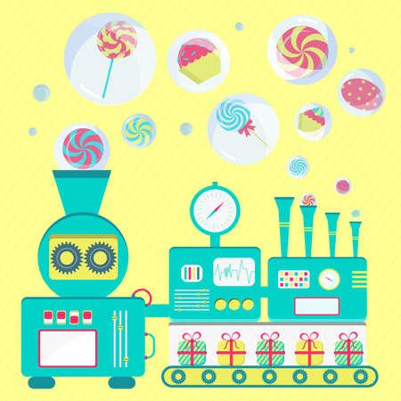 Fábrica de dulces creativa. Máquina de producción de dulces en las pompas de jabón. Vectores