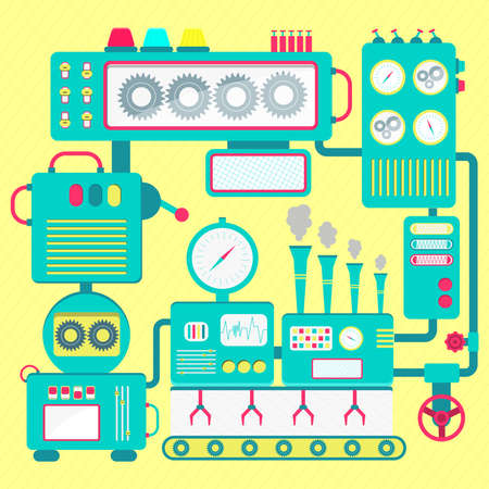 conveyor system: Colorful and cute machine of the abstract factory. Flat design. Illustration