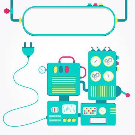 unplugged: M�quina fuera. Lindo y colorido m�quina desenchufada. El panel en blanco para insertar texto. Vectores