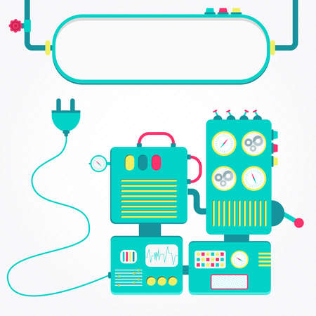 unplugged: Machine off. Cute and colorful machine unplugged. Blank panel for insert text. Illustration