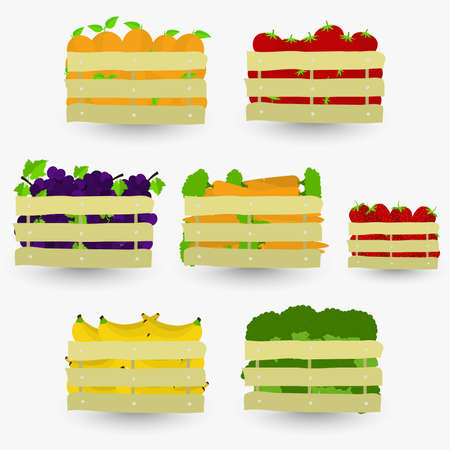 Fruits and vegetables crate. Wooden boxes containing fruits and vegetables. Isolated with shadow.