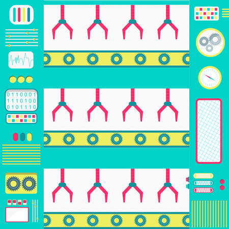 gripper: Colorful and cute factory machines with conveyor and gripper. Flat design. Illustration