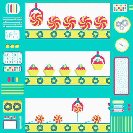 cinta transportadora: La producción en serie de colores de los dulces máquinas con cinta transportadora y pinza. Diseño plano.