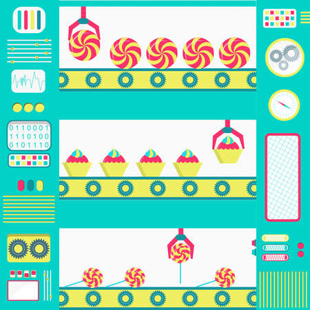 Colorful series production of sweets machines with conveyor and gripper. Flat design.