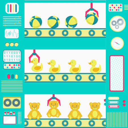 jubilation: Colorful and cute toy factory machines with conveyor and gripper. Flat design. Illustration