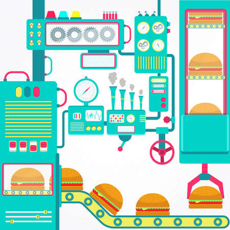 conveyor system: Burgers factory. Colorful factory of hamburger with cute machines. Flat design. Illustration