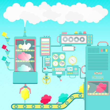 factory automation: Cotton candy factory. Creative and imaginative cotton candy factory made of clouds. Cute machines.