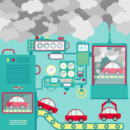 automobile industry: Automobile industry and the pollution released into the atmosphere. Conceptual.