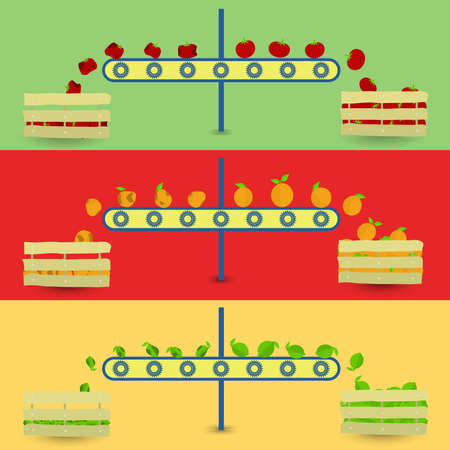 conveyor system: Separation of rotten fruit. Healthy and rotten fruit in the conveyor. Rotten fruit separated of healthy fruits. Three vegetables: tomato orange green lemon. Illustration