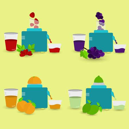 food processor: Four natural juices being prepared with food processor and squeezer. Strawberry juice, grape juice, orange juice, lemon juice. Illustration