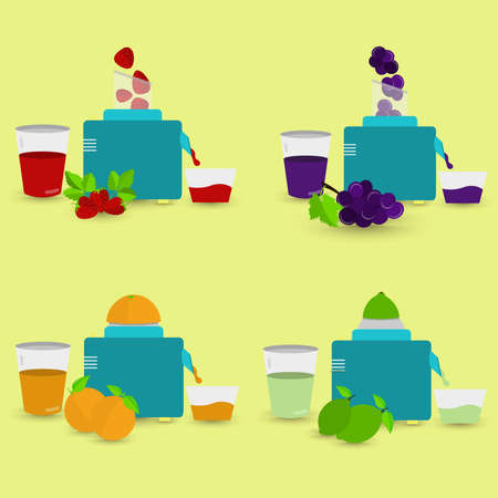 succo di frutta: Quattro succhi naturali in fase di preparazione con robot da cucina e spremiagrumi. Succo di fragola, succo d'uva, succo d'arancia, succo di limone.