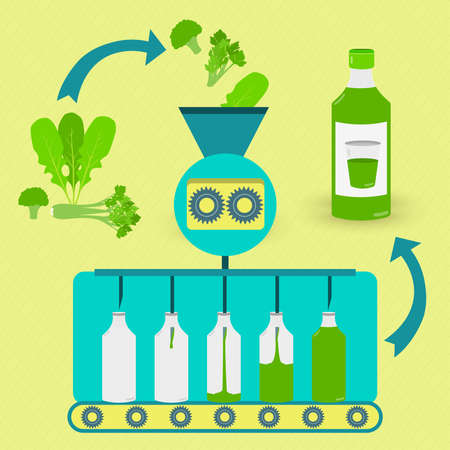 Green juice series production. Fresh green being processed. Bottled green juice. Ilustracja