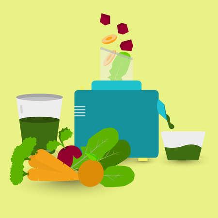 food processor: Detox juice being prepared with food processor. The ingredients are arugula, orange, beet, carrot.