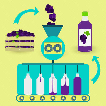 juice: Grape juice series production. Fresh grapes being processed. Bottled grape juice.