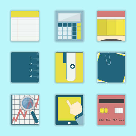 office supplies: Vector - Square icons of business, office supplies, study materials: notebook, calculator, pencil, ruler, sharpener, post it, graph with magnifying glass, mobile and credit card