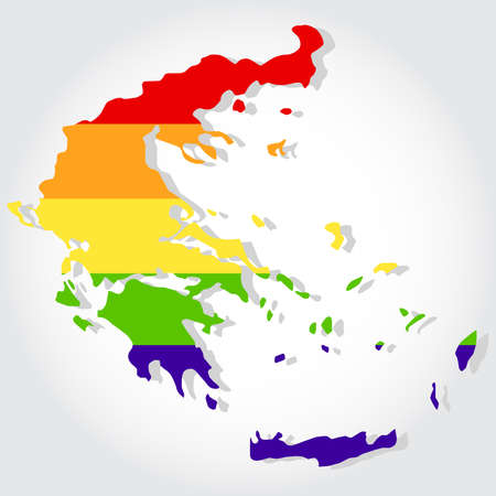 bisexuality: Lgbt flag in contour of Greece with light gray background Illustration
