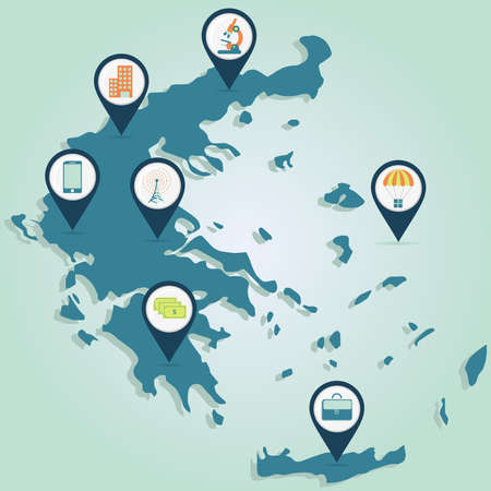communications technology: Map of Greece with map pin of business and technology