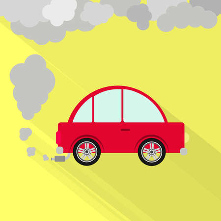 Car fuming. Red car steaming the exhaust pipe. Air pollution. Flat design with long shadow. Illustration