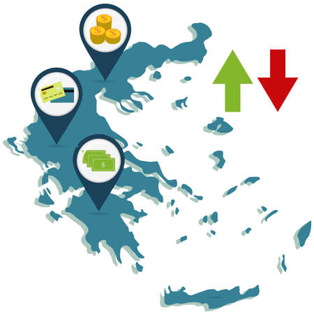 banking concept: Economy of Greece. Map of Greece. Map pin with coins, currency and credit card. Two arrows, up and down. Illustration