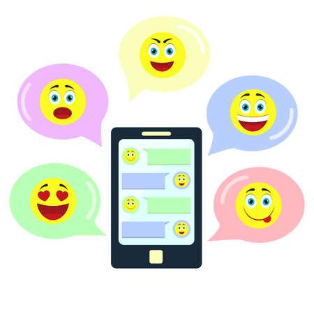 carita feliz: Chatea con emoticonos. Chatea en una aplicación en el smartphone utilizando diferentes emoticonos.