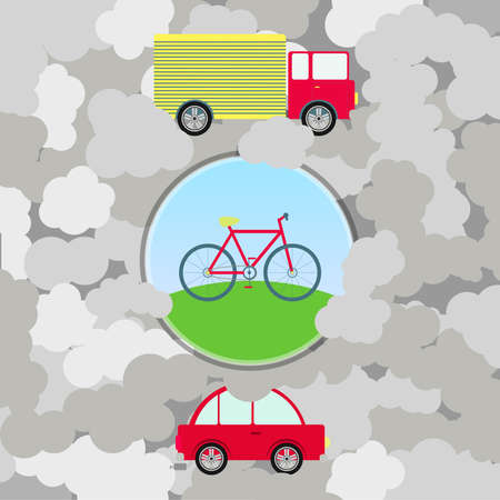 car pollution: Urban transport and pollution. Polluted environment. Car and truck surrounded by smoke. Bike like a green transport. Illustration