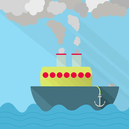 exhaust pipe: Ship fuming. Ship steaming the exhaust pipe. Air pollution. Flat design with long shadow.