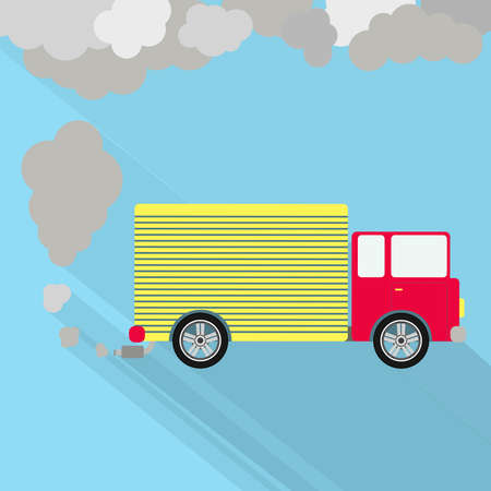 exhaust pipe: Truck fuming. Truck steaming the exhaust pipe. Air pollution. Flat design with long shadow.