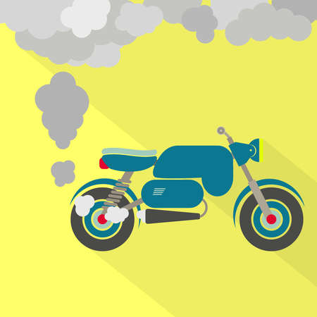 pollution: Motorcycle fuming. Motorcycle steaming the exhaust pipe. Air pollution. Flat design with long shadow.