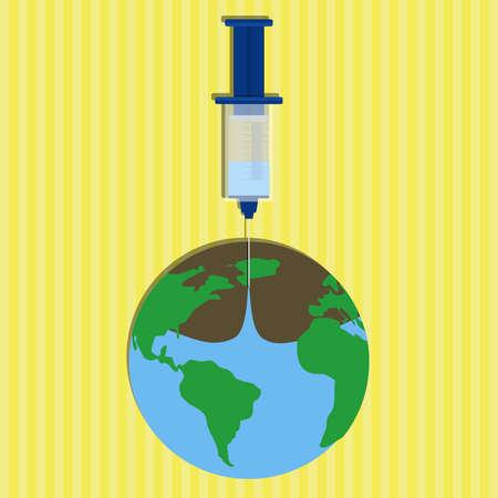 recursos naturales: Fin de agua del planeta. Jeringa chupar toda el agua de la tierra. Ilustraci�n conceptual de las aguas residuales y el mal uso de los recursos naturales. Vectores