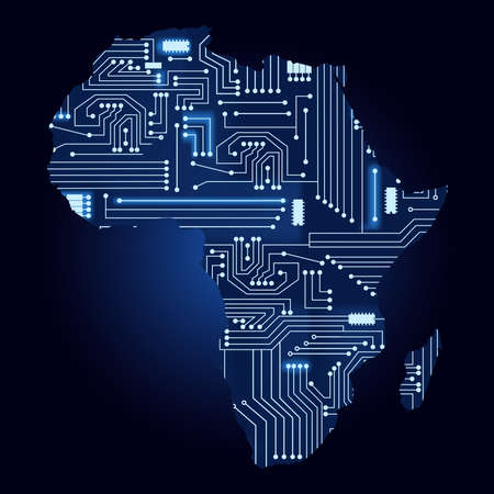 Map of Africa with electronic circuit. Contour map of Africa with a technological electronics circuit.