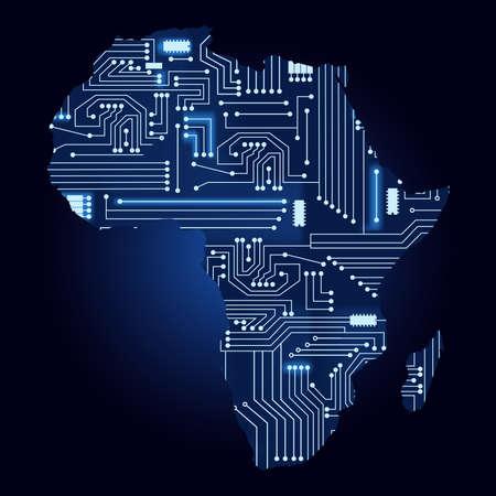 Carte de l'Afrique avec le circuit électronique. Contour carte de l'Afrique avec un circuit électronique technologique.