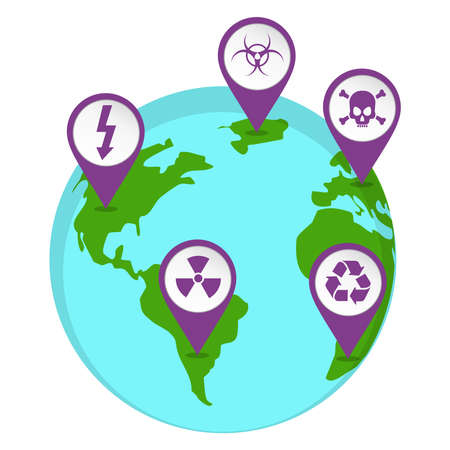 recycle waste: Map pin illustrated with a radioactive icons marking the point on the planet earth.