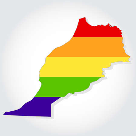 bisexuality: Rainbow flag in contour of Morocco. Lgbt flag in contour of Morocco with light gray background. Illustration