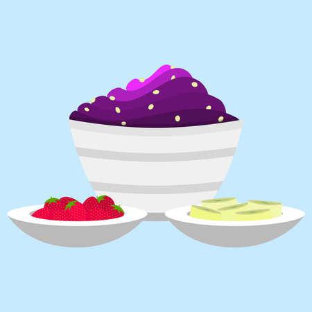 comiendo helado: Acai plato de crema con granola. Al lado, tazones de fresas y rodajas de pl�tano como un plato de acompa�amiento.