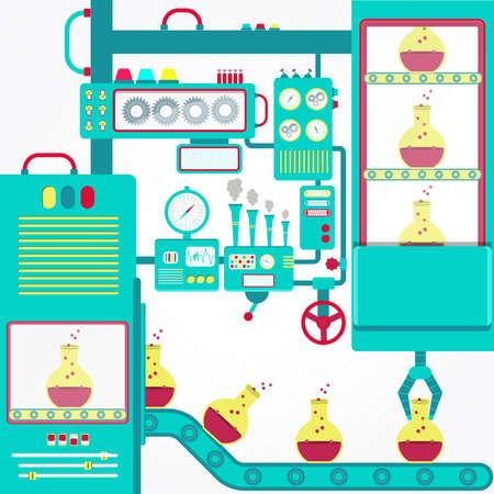 industria quimica: Industria química con maquinaria y pinza erlenmeyer con productos químicos.