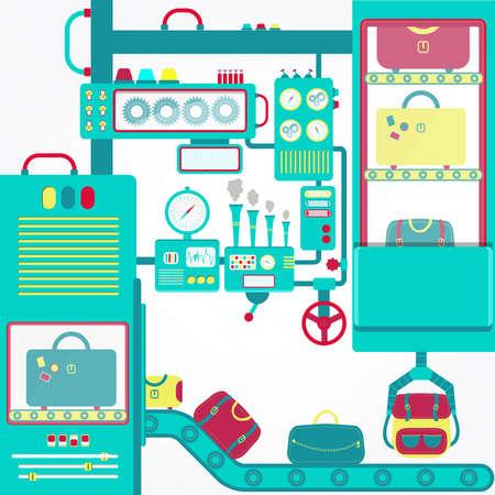 conveyors: Luggage machine. Huge machine conveyors with carrying luggage. Luggage Carousel. Illustration