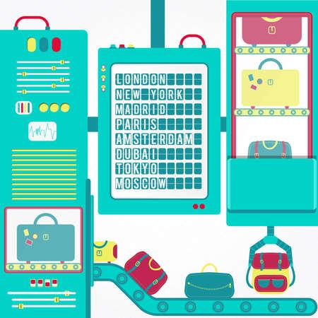 pizarra: carrusel de equipaje con la tarjeta de la salida. Bolsas en un carrusel de equipaje del aeropuerto transportado por. En el fondo de la tarjeta de la salida con destinos ciudades. Vectores