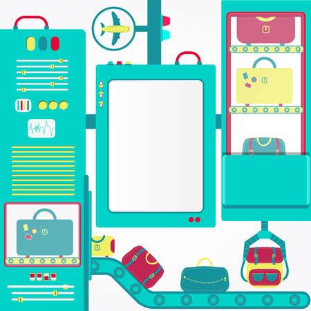 cinta transportadora: carrusel de equipaje con el panel en blanco. Bolsas en un carrusel de equipaje del aeropuerto transportado por. En el fondo es un texto del panel inserto blanco o una imagen.