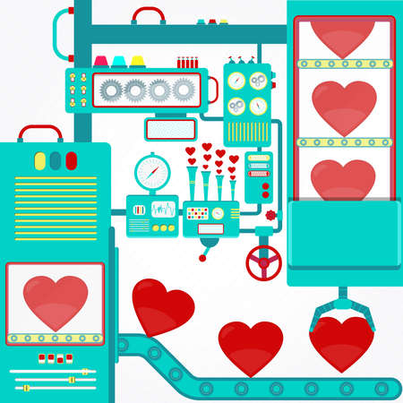 Factory of love. Industry of love with machinery and gripper holding red hearts. Fantasy.