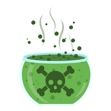 poison: Glass jar with green poison. Transparent glass with green poison. Crossbones at the glass. Liquid bubbling. Isolated. White background.