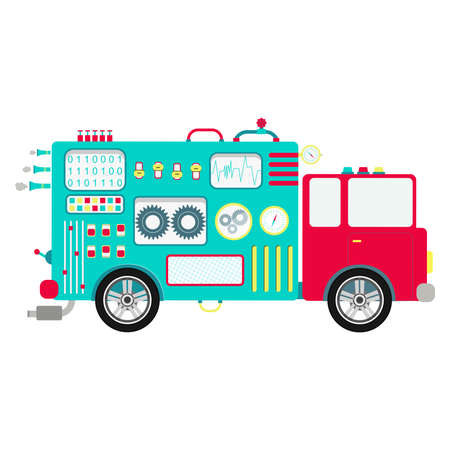 Mechanical truck body. Truck body shaped machine with buttons, panels and levers. Cute and abstract truck. Isolated. White background.