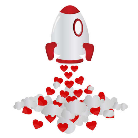 taking off: Rocket and hearts. Rocket taking off and freeing up hearts. Isolated. White background.