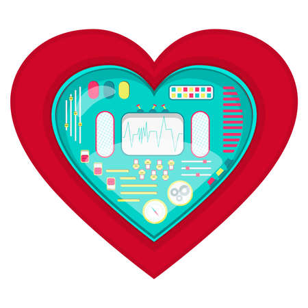 pacemaker: Mechanical heart shape. Heart shape with a cute machine inside. Isolated. White background.