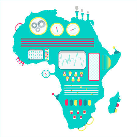 Africa machine. Map of Africa like a cute machine with buttons, panels and levers. Isolated. White background. Vetores
