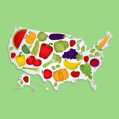 Map Of Usa With Fruits Map Of United States Full Of Fruits And Vegetables Tomato