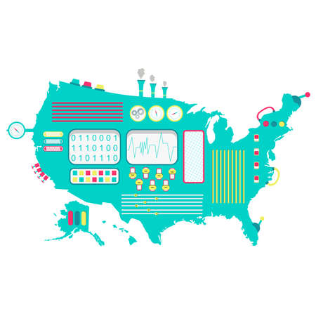 USA machine. Map of United States like a cute machine with buttons, panels and levers. Isolated. White background.