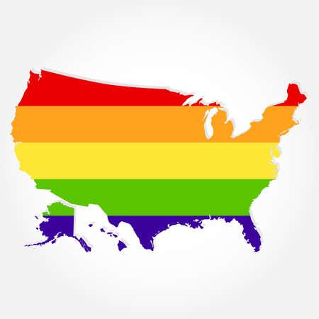 Bandera del arco iris en el contorno de EE.UU.. Bandera LGBT en contorno de Estados Unidos con el fondo gris claro Ilustración de vector