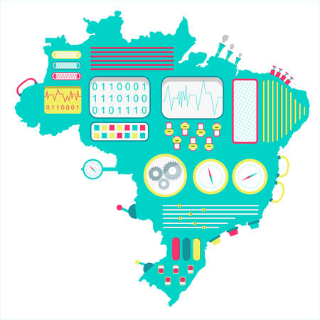 factory automation: Brazil machine. Map of Brazil like a cute machine with buttons, panels and levers. Isolated. White background. Illustration