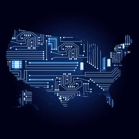 the us: Map of USA with electronic circuit. Contour map of United States with the technological electronics circuit.