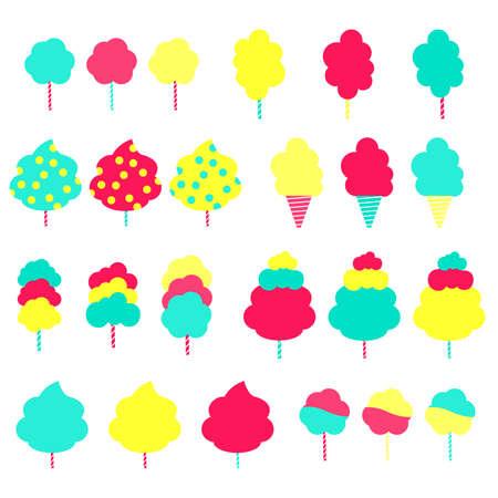 algodon de azucar: Conjunto de algodones dulces de colores. Grupo de caramelos de colores de algodón en varios formatos. Aislado. Fondo blanco.